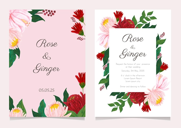 Pretty watercolor flower wedding invitation card