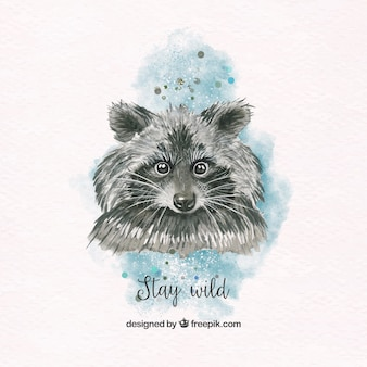 Pretty watercolor raccoon