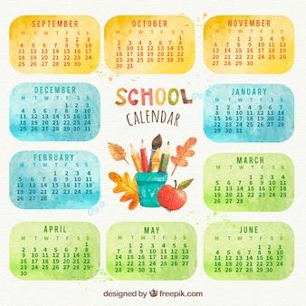 요소와 예쁜 수채화 학교 일정