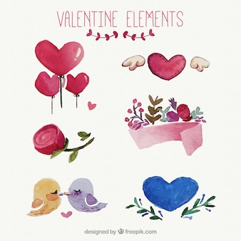 Pretty watercolor valentine elements