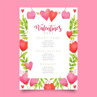 Pretty watercolor valentine's day menu template