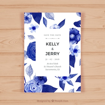 Pretty wedding card with flowers in blue tones