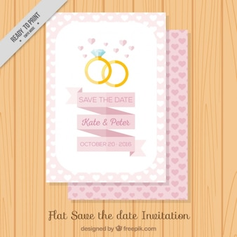 평면 디자인에 반지와 예쁜 웨딩 카드