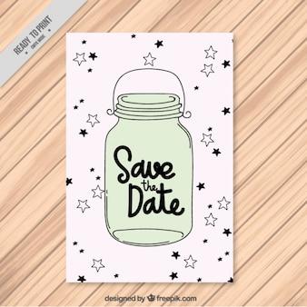 Pretty wedding card with stars and hand drawn jar