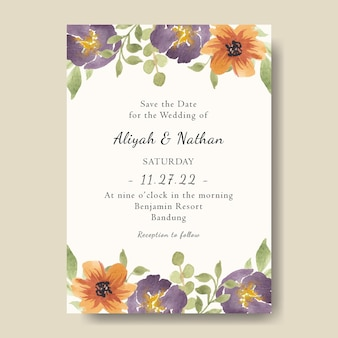 手描きの水彩画紫黄色の花柄のかわいい結婚式の招待カードテンプレート