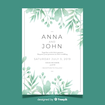 Pretty wedding invitation template with watercolor leaves