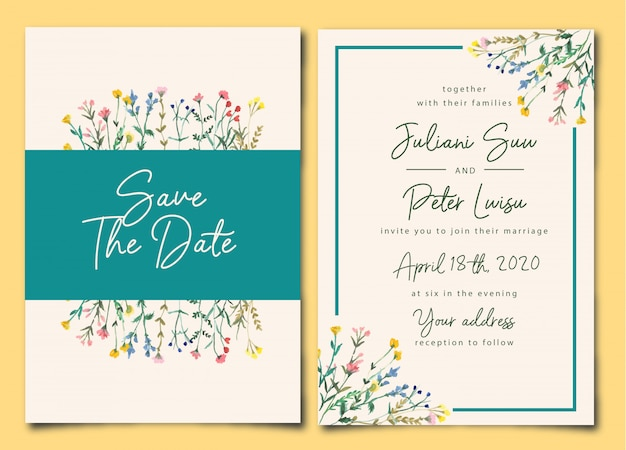 Pretty wedding invitation wild floral watercolor