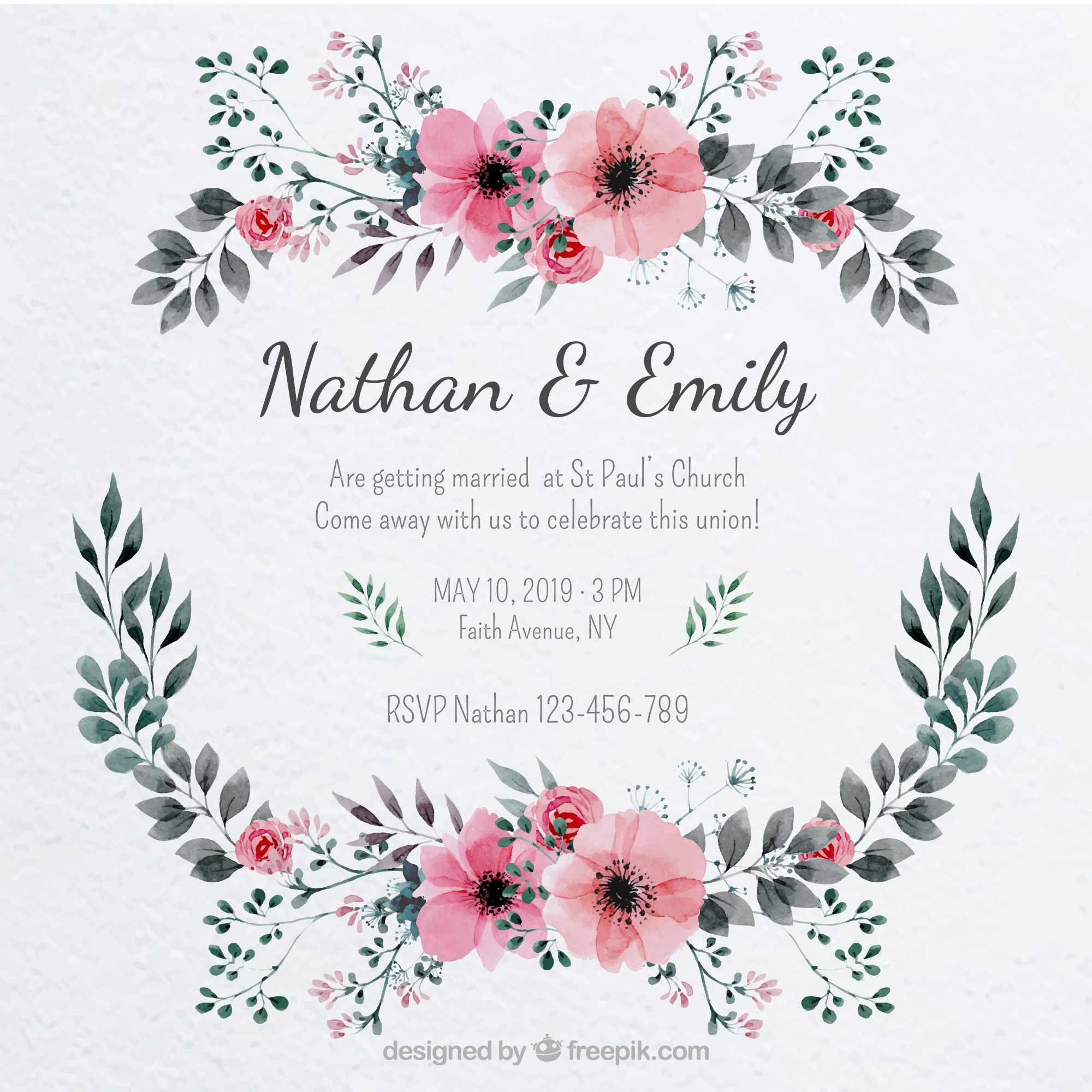 Pretty wedding invitation with a floral frame