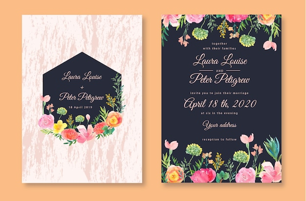 Pretty wedding invitation with botanical floral watercolor