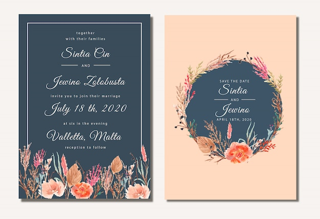 Pretty wedding invitation with dry flowers watercolor