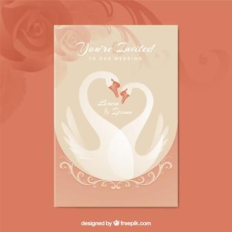 Довольно свадебное приглашение с лебедями