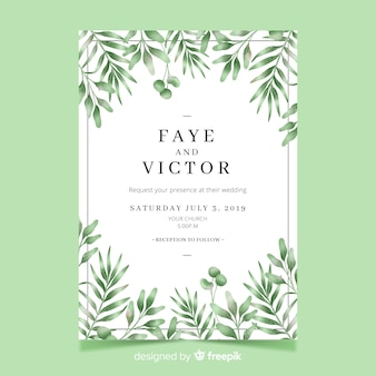 Pretty wedding invitation with watercolor leaves template