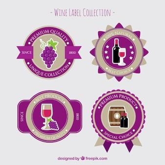 Pretty wine labels in flat design