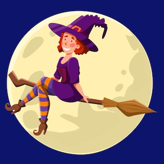 A pretty witch with red curly hair, flying at night on a broomstick. funny girl on the background of the moon. vector illustration for halloween in a cartoon style.