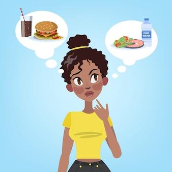 Симпатичная женщина, выбирающая между здоровой едой и нездоровым гамбургером с содовой. трудное решение. нездоровая пища или диета. иллюстрация
