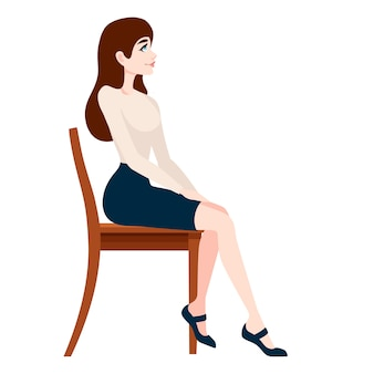 Красивая женщина в деловой одежде, сидя на деревянном стуле
