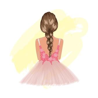 ピンクの花柄のドレスの背面図のきれいな女性