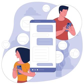 예쁜 여자는 거대한 전화의 배경에 잘 생긴 남자와 채팅입니다. 데이트 앱과 가상 관계. 평면 디자인 컨셉.