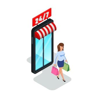 きれいな女性が店、店、ショッピングモールの紙袋を残します。ショッピングモール、スーパーマーケットを購入する女の子。オンラインショッピング、季節限定セール、24時間、24時間体制の作業コンセプト。白の等尺性。