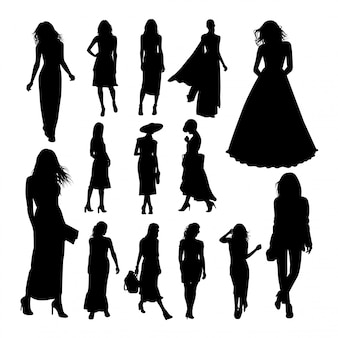 Pretty woman silhouettes.