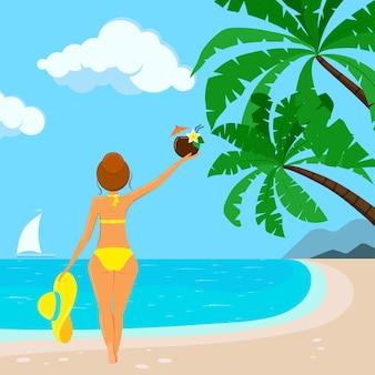 모자를 쓴 수영복을 입은 예쁜 여성, 야자수, 바다, 요트가 있는 열대 해변 배경에서 코코넛 하와이 칵테일. 해변 보기 배너입니다. 평면 만화 스타일의 벡터 일러스트 레이 션 바다입니다.