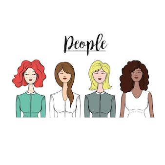 Pretty women with hairstyle and different wear