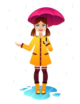 Pretty young girl happy under umbrella at rainy weather.