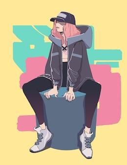 スタイリッシュなグレーのジャケットと帽子のかなり若い流行に敏感な女の子。ストリートファッションスタイル。
