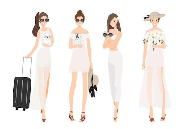 꽤 젊은 세련된 여성은 프랑스 불독 강아지 플랫 스타일로 여름 흰 드레스를 입는다.