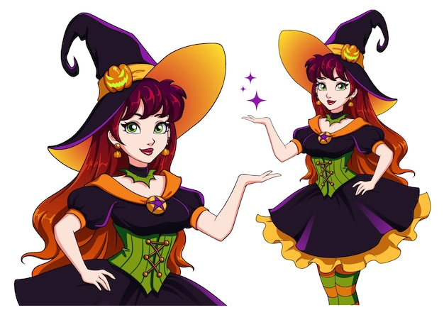 Pretty young witch. announce halloween party. hand drawn cartoon girl with colorful hair and green eyes.