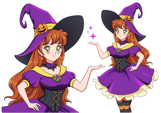 Pretty young witch. announce halloween party. hand drawn retro anime girl with red hair and green eyes. illustration