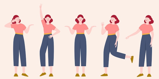 Pretty young woman constructor in flat style.