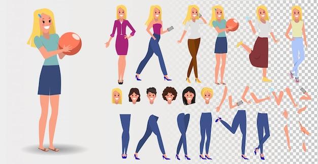 フラットスタイルでかなり若い女性のコンストラクタ。体の脚と腕の一部、顔の感情、散髪、手のジェスチャー。少女漫画のキャラクター