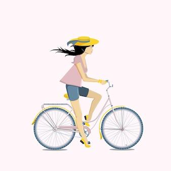 Велосипед катания довольно молодой женщины. плоские векторные иллюстрации.