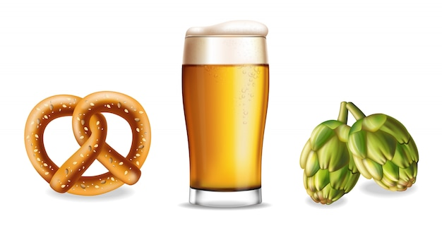 Pretzel beer and hop isolated