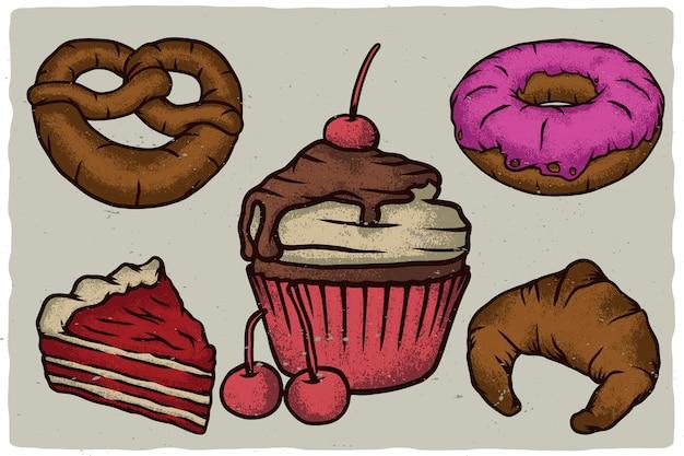 Крендель, кекс, круассан, пончик и кусок торта.