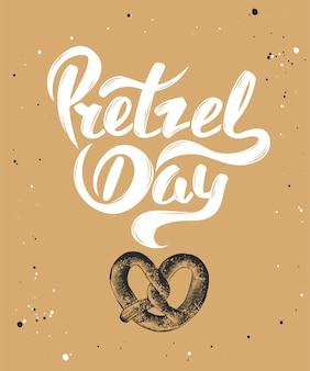 Pretzel day with sketch of baked pretzel.
