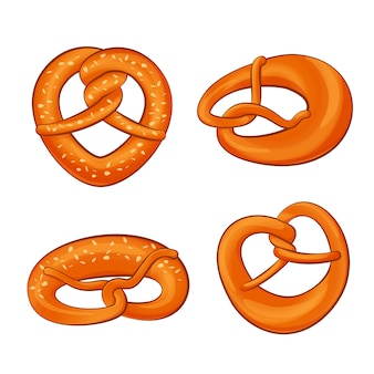 Pretzel sticks oktoberfest bagel bread icons set