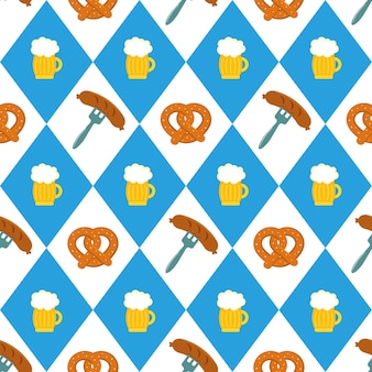 Pretzels beer sausage seamless pattern