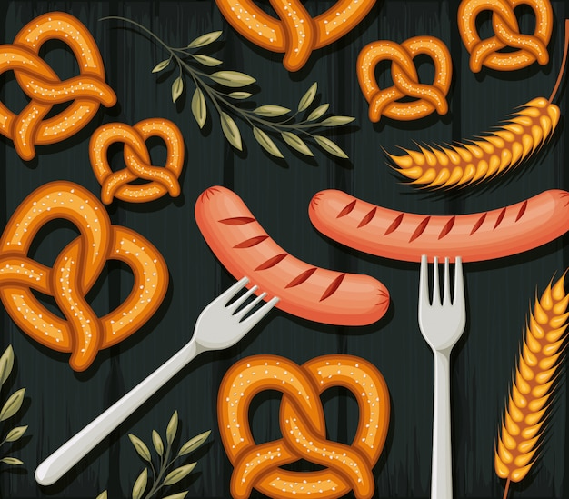 Pretzels and sausages background