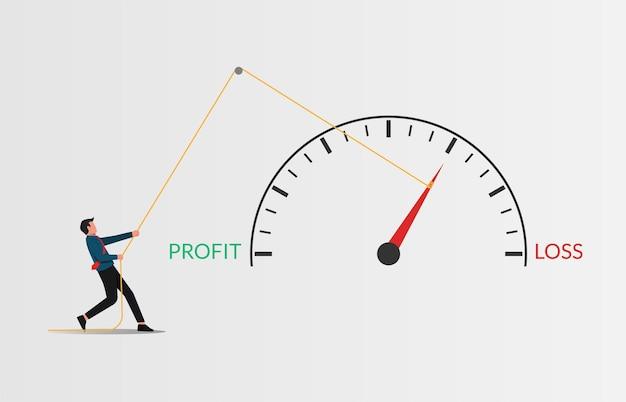 Иллюстрация стратегии предотвращения потерь бизнеса. бизнесмен, потянув указатель метр «убыток» к концепции «прибыли».
