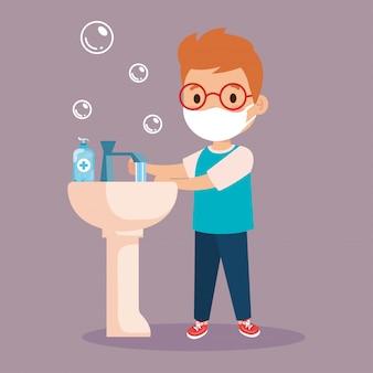 Covid 19の防止、医療用マスクの着用、手を洗う、防護マスクの少年