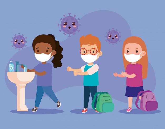 Covid 19、医療用マスクを着用、手を洗う、保護用マスクを着用する子供たち