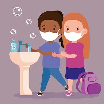 Prevent covid 19, wearing medical mask, wash your hands, girls wearing protective mask, health care concept