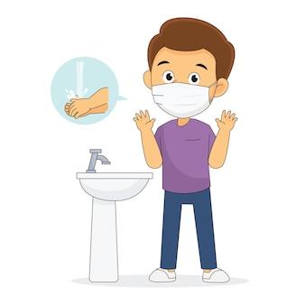 코로나 19 예방, 의료용 마스크 착용, 손 씻기