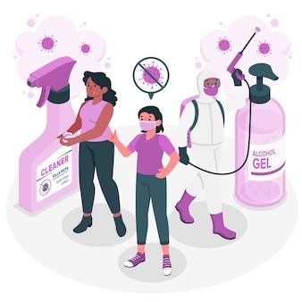 Иллюстрация концепции предотвращения отскока эпидемии