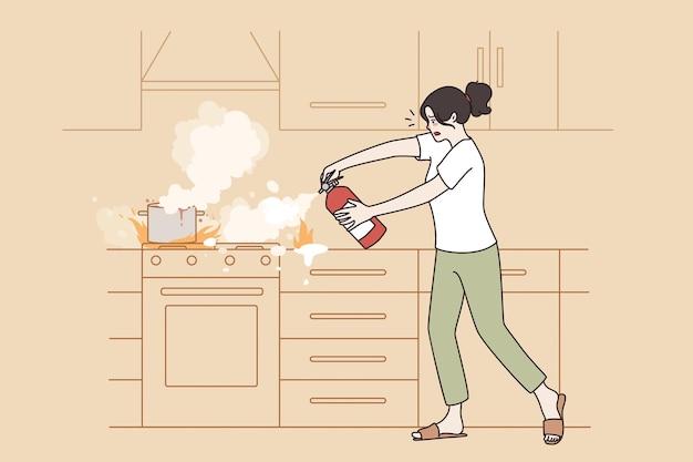 주방 화재 및 화염 개념 방지. 접시 벡터 삽화에 불을 붙이며 손 소화기에 소화기를 들고 서 있는 좌절한 젊은 여성