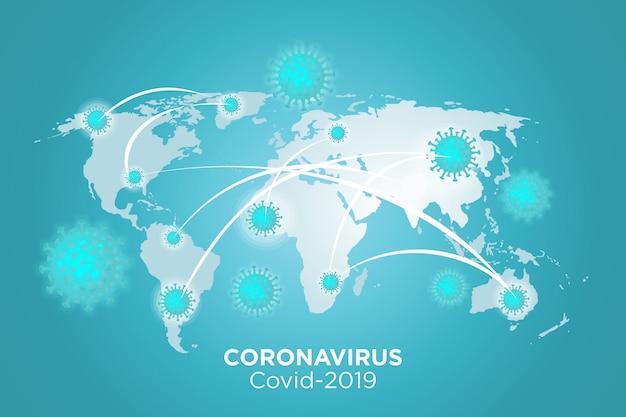 コロナウイルス病の予防と症状のイラスト