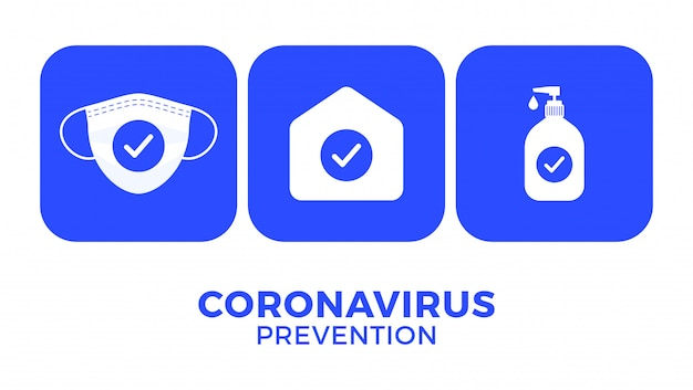 Prevention of covid-19 all in one icon illustration.  stay at home, use face mask, use hand sanitizer