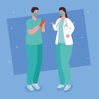 예방 코로나 19, 코로나 바이러스 일러스트에 대한 의료 마스크를 착용하는 부부 의사